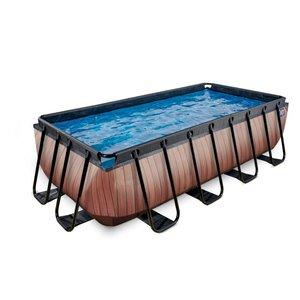 EXIT Wood zwembad 400x200x100cm met zandfilterpomp
