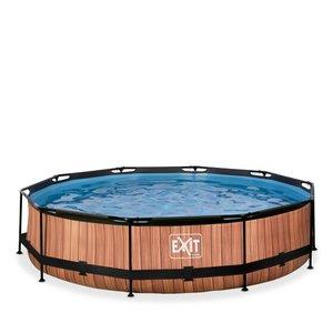 EXIT Wood zwembad ø360x76cm met filterpomp